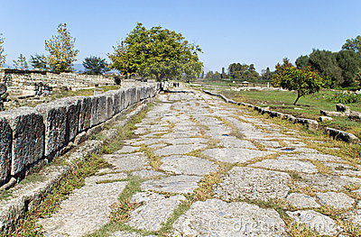 Roman era ancient street at Dion of Greece