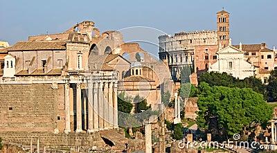 Roman Forum and Coliseum.