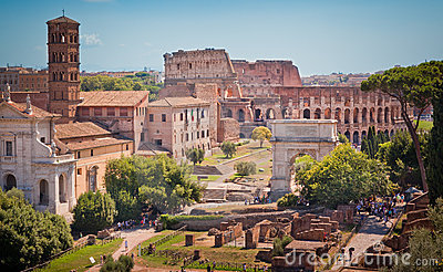Roman forum and colosseum Editorial Photography