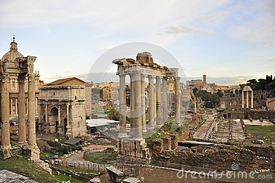 Roman Forum and colosseum ruins
