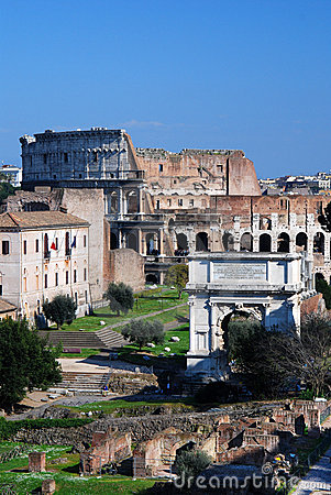 Roman Forum en Colosseo in Rome