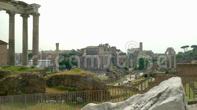 Roman Forum. Looking to the Roman Forum and the Colosseum in Rome stock footage