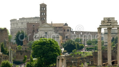 Roman Forum. Looking to the Roman Forum and the Colosseum in Rome stock video footage
