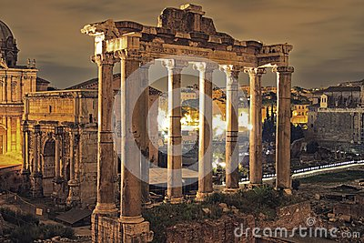 Roman Forum in the night, Rome Editorial Photo