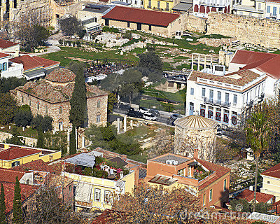 The roman forum  and old houses under Acropolis