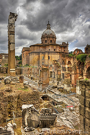 The roman forum in rome. HDR image.