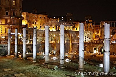 Roman forum ruins in night