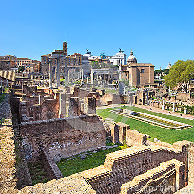 Free Roman Forum Ruins Panorama. Unesco Heritage Site. Rome, Italy. Stock Images - 29996534