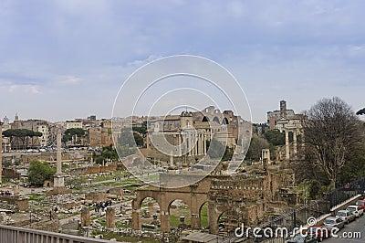 Roman forum scenic view Editorial Stock Image