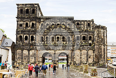 The Roman gate in Trier, Germany Editorial Photo