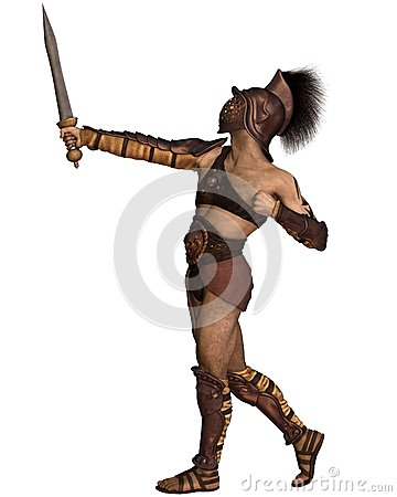 roman gladiator murmillo type in heroic pose stock