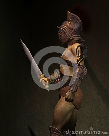 Roman Gladiator in the Shadows, Side View