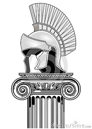 Roman helmet, column