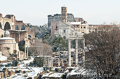 Roman monuments covered in snow