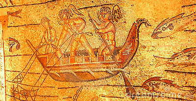 Roman mosaic of angels fishing
