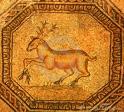 Roman mosaic of a golden stag