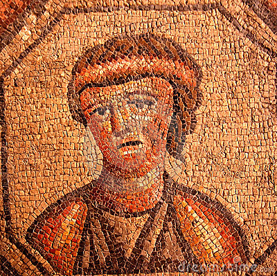Roman mosaic portrait of a sad woman