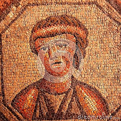 Roman mosaic portrait of a sad woman