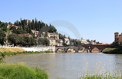 Roman Ponte Pietra over the Adige River, Verona