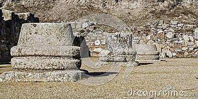Roman ruins columns pedestals