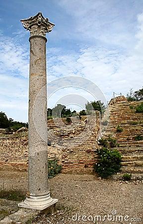 Roman ruins with corinthian column