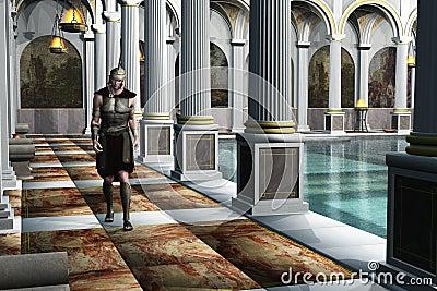 Roman soldier in bath house