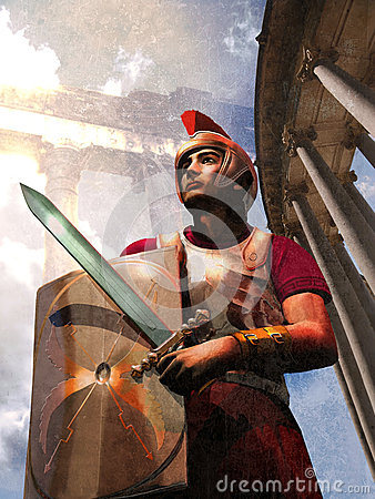 Roman soldier and monuments