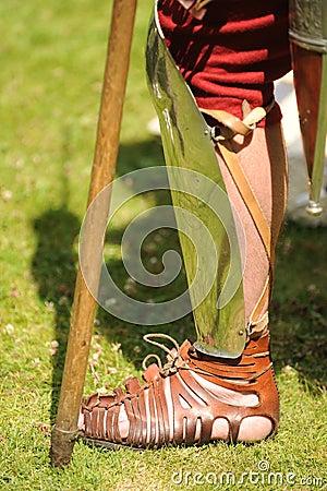 Roman soldier wearing sandal