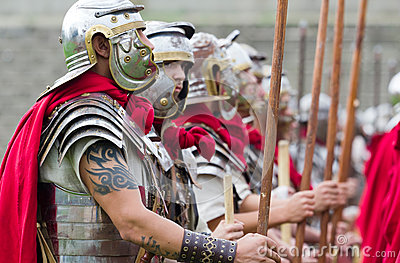 Roman soldiers in armor Editorial Stock Photo