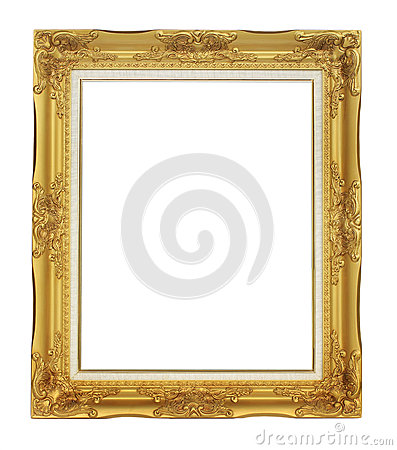 Roman style antique gold frame on white background