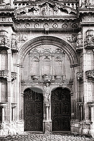 Roman Style Church Entrance Portal with Sculpture