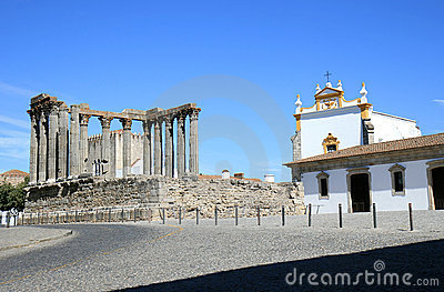 Roman Temple and Igreja dos Loios, Evora, Portugal