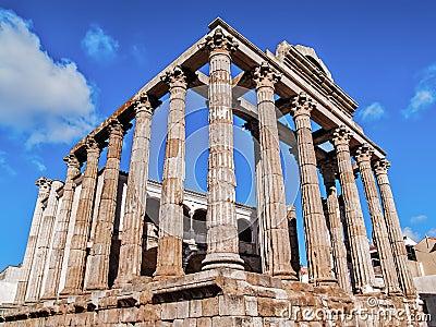 Roman temple in Merida side