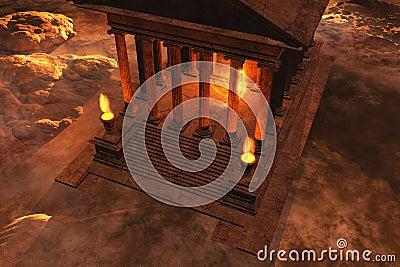 Roman temple at sunset