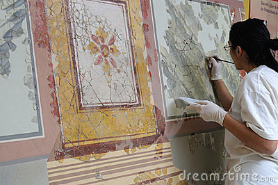 Roman wall painting Editorial Image