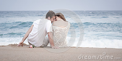 Romance Engagement Couple Love Beach Ocean Lovers Relationship Stock Photo