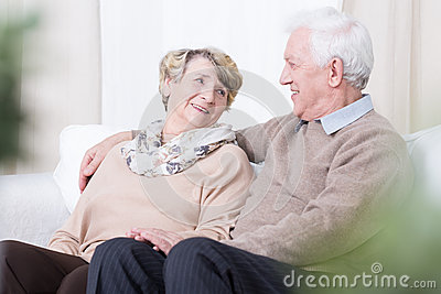 Romance in old age Stock Photo