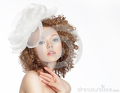 Romance. Refined Frizzy Golden Hair Woman with White Bow. Sensuality & Femininity