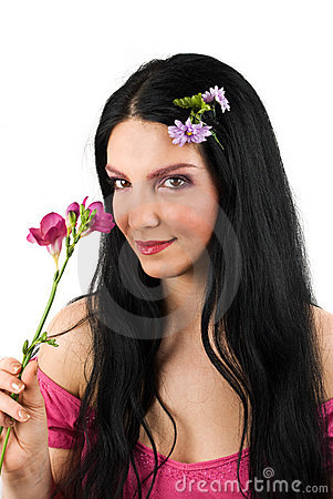 Romance spring woman and flower