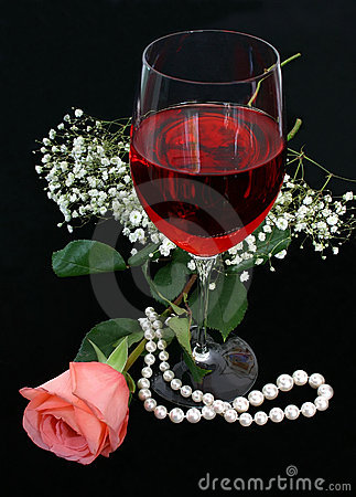 Free Romance, Wine And Pearls Stock Photo - 253770