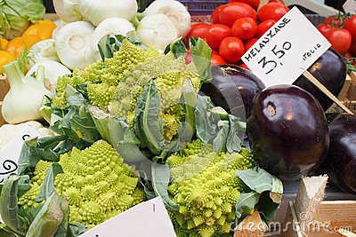 Romanesco and Eggplant at Market