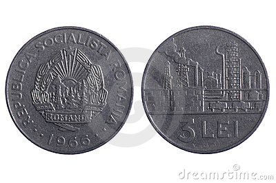 Romania coins close up