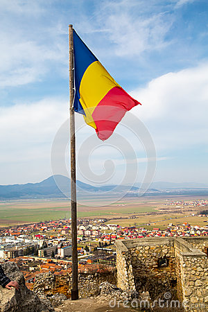Free Romania Flag At The Medieval Fortress In Rasnov Stock Photography - 52991272