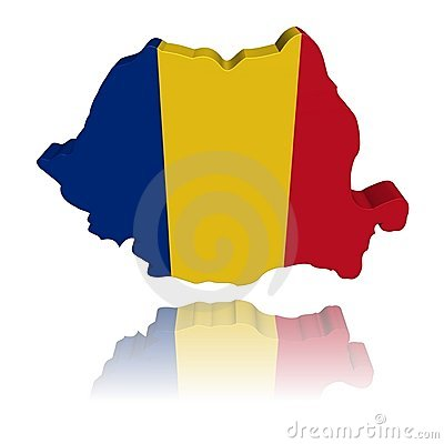 Romania map flag with reflection