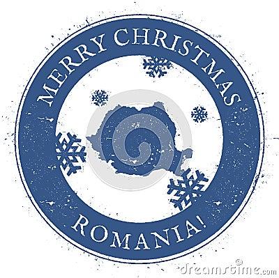 Free Romania Map. Vintage Merry Christmas Romania. Stock Photo - 102044910