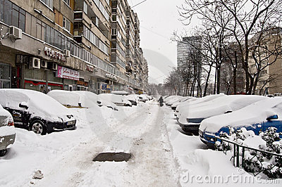 Romania under heavy snow Editorial Stock Photo
