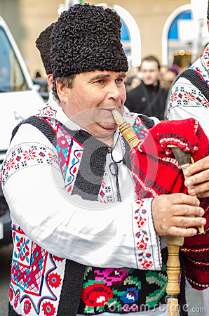 Romanian bag pipes player at Saint Patrick Parade Editorial Photography