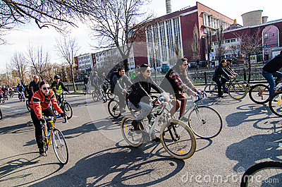 Romanian bikers protesting for better road conditions Editorial Stock Image