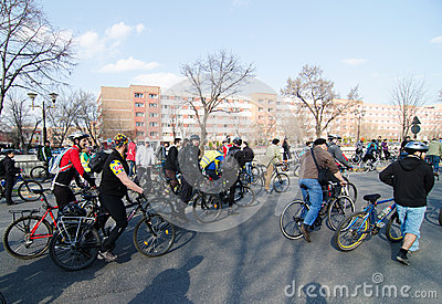 Romanian bikers protesting for better road conditions Editorial Stock Photo