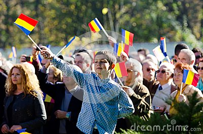 Romanian crowd waving flags Editorial Photo